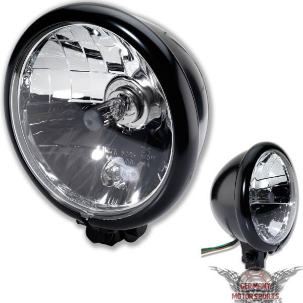 Motorrad Scheinwerfer Bates Style H4 schwarz klar 5 3/4 Zoll