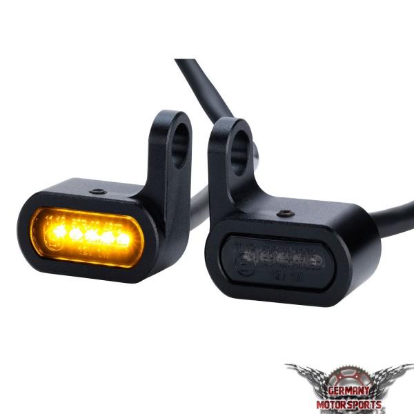 LED Motorrad Mini Blinker für Armatur Gabel Fender Custom Chopper Cruiser schwarz getönt