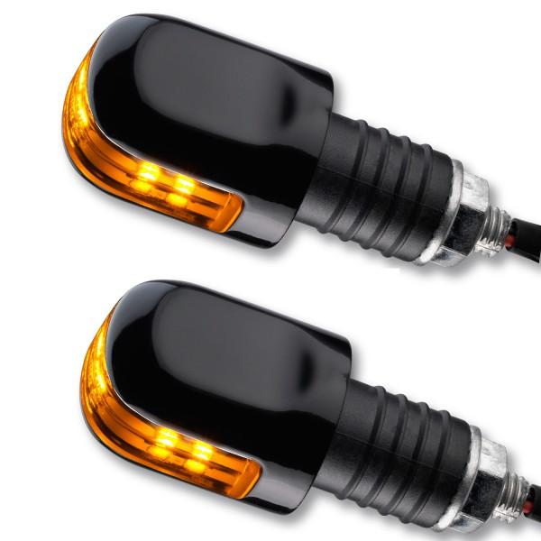 LED Lenkerenden Blinker OX schwarz Glas getönt