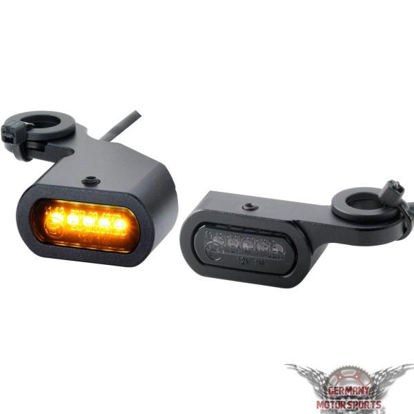 LED Blinker für Harley Lenkerarmatur schwarz getönt